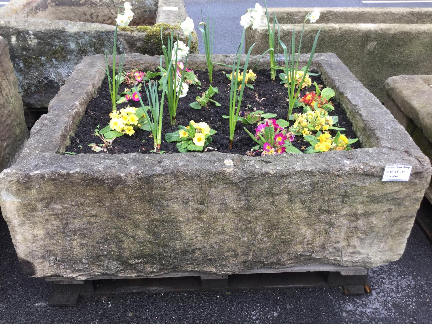 MILLSTONE GRIT STONE TROUGH