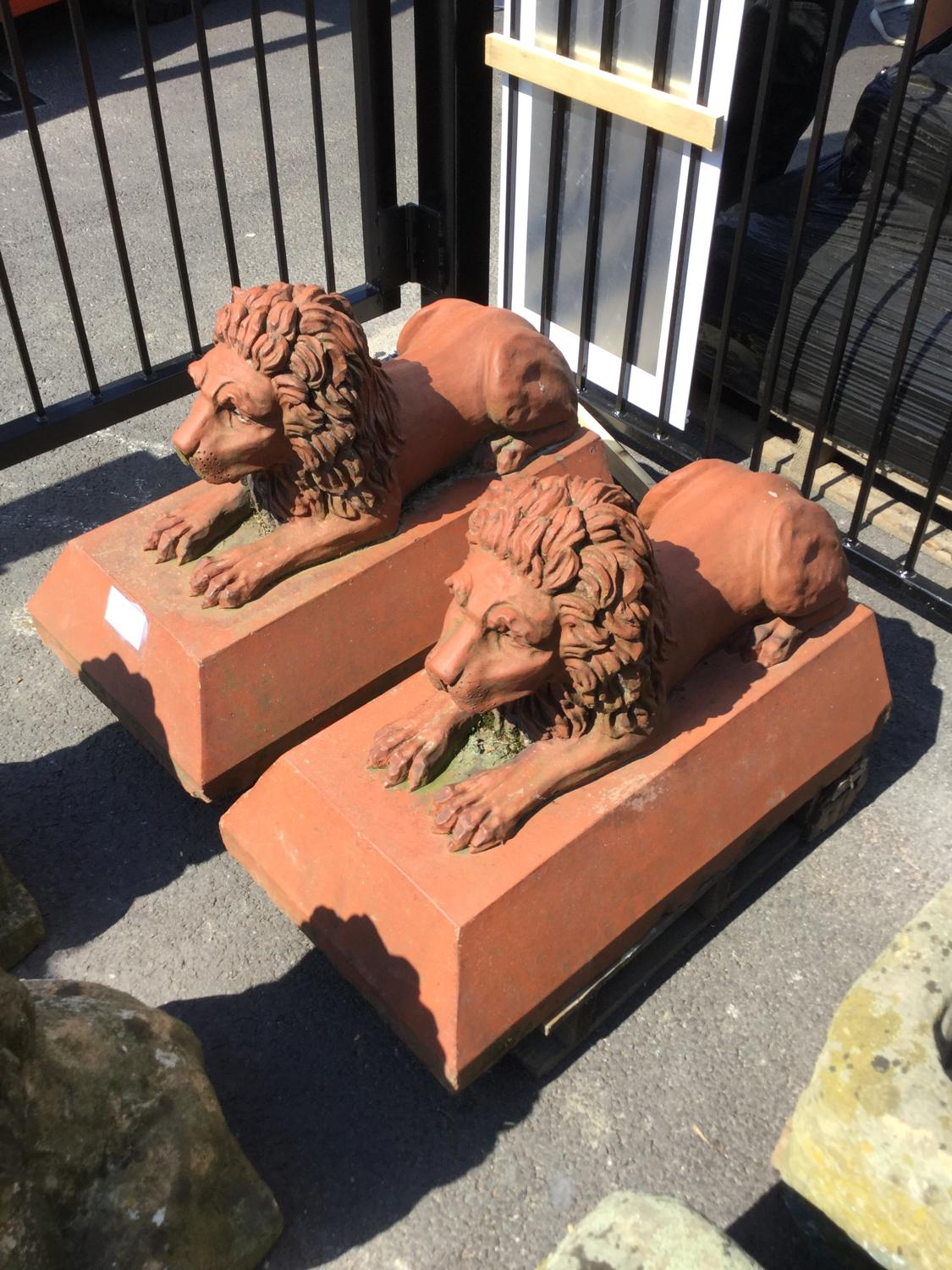 PAIR OF VICTORIAN TERRACOTTA LIONS