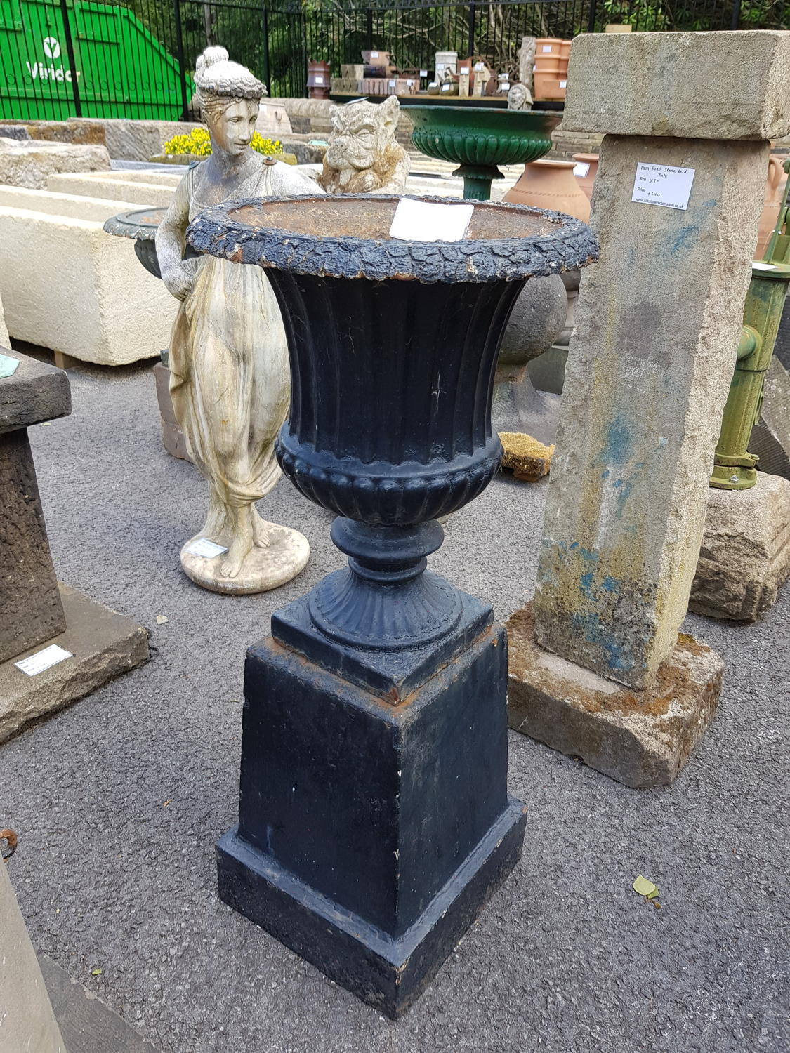 ANTIQUE CAST IRON URN GARDEN FEATURE