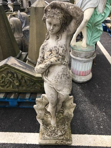 LARGE CAST STONE LADY IN SHELL