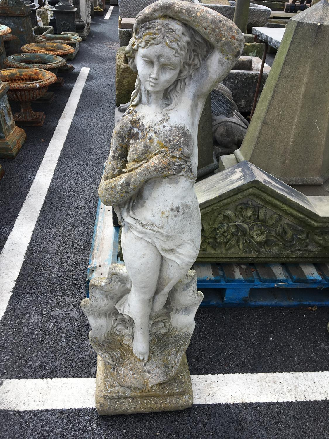 CAST STONE LADY IN SHELL