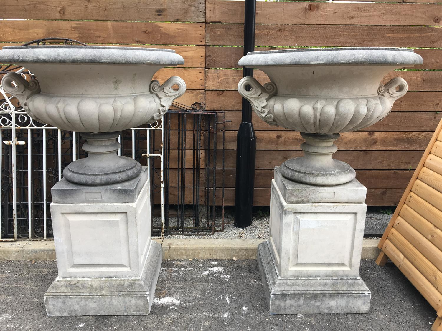 PAIR OF REGENCY DESIGN COMPOSITION STONE CAMPANA SHAPED GARDEN URN