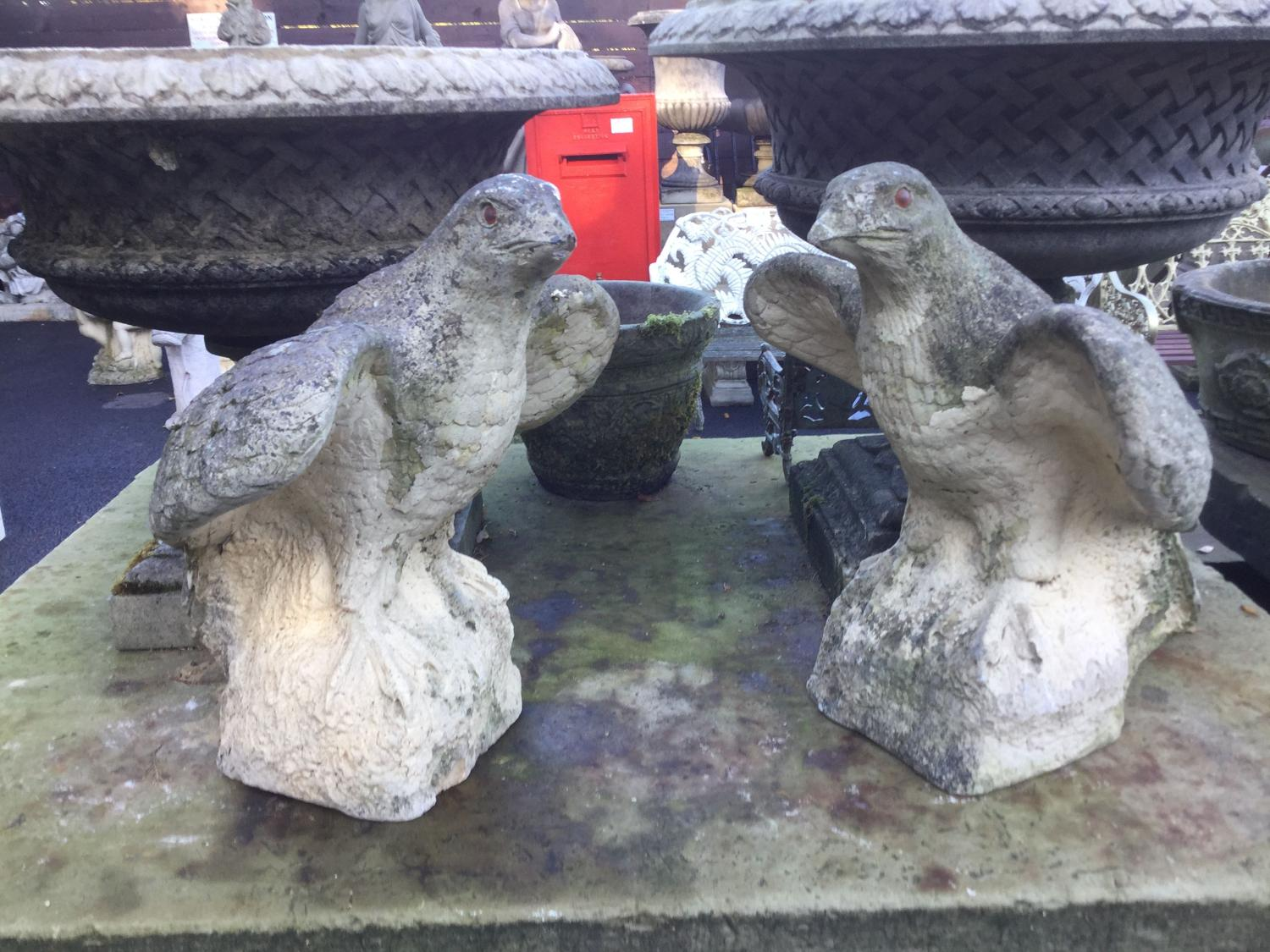 PAIR OF CAST STONE EAGLE