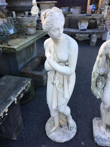CAST STONE STATUE OF MAIDEN BATHING