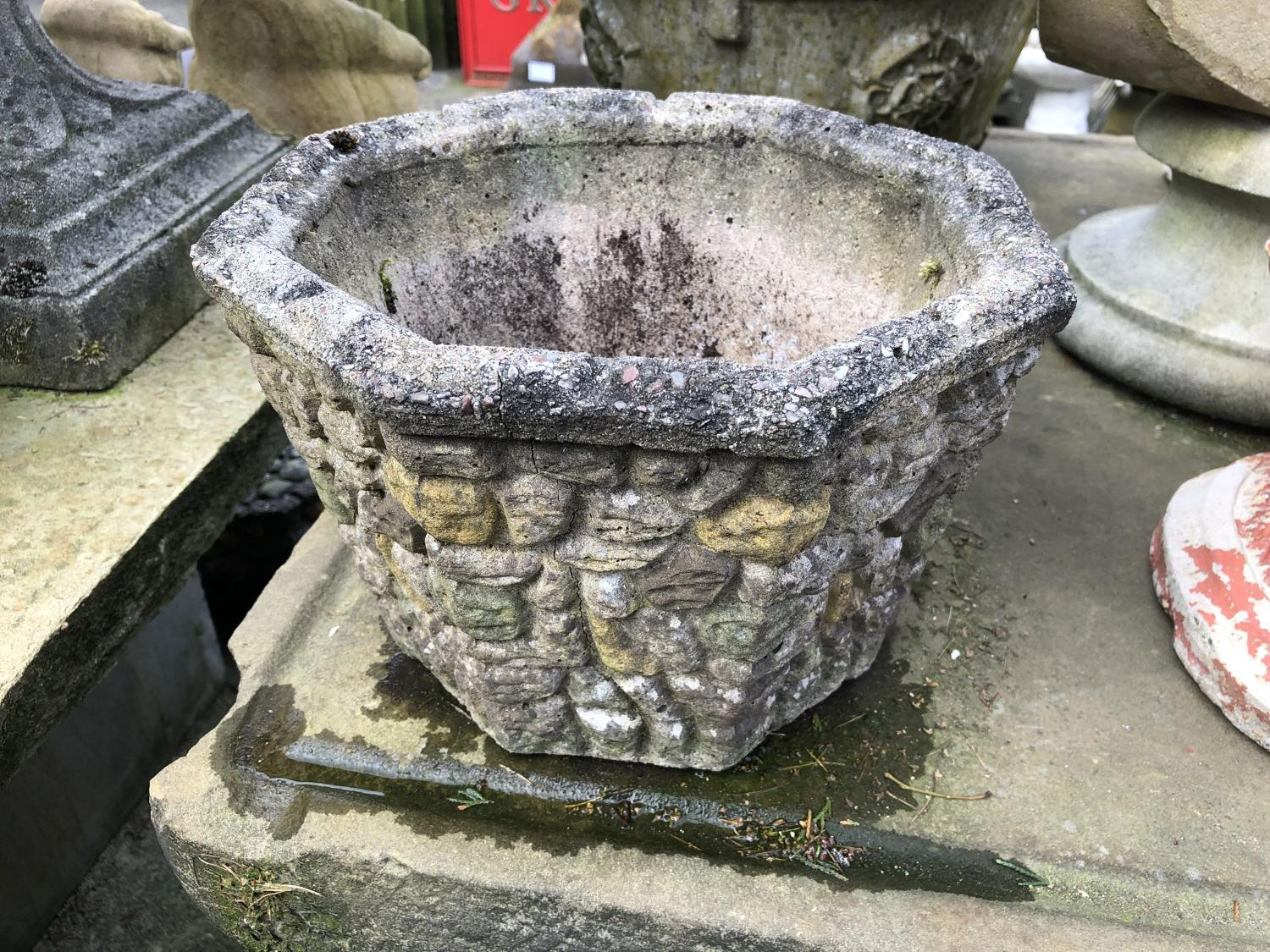 CAST STONE HEXAGON PLANTER
