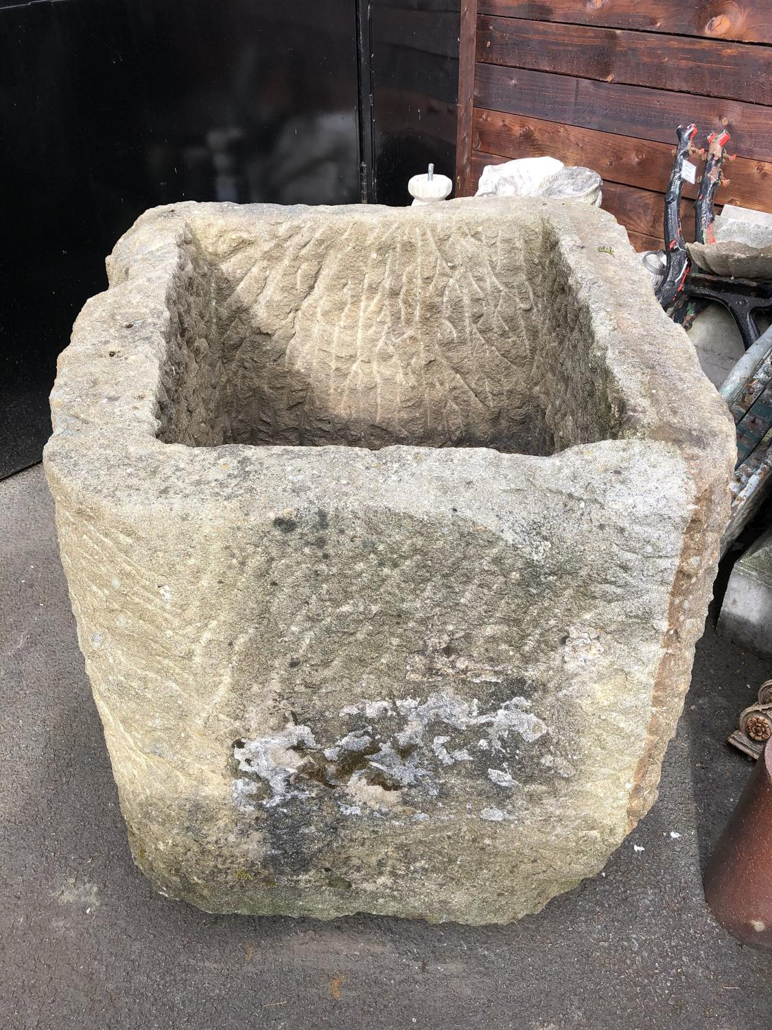 YORKSHIRE GRIT STONE TROUGH D SHAPED