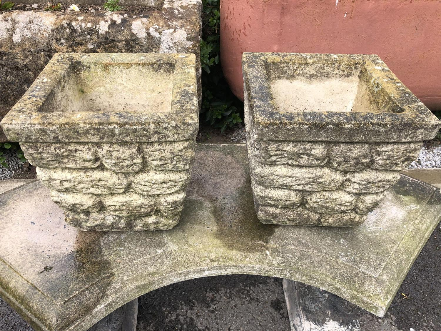 PAIR OF CAST STONE PLANTERS