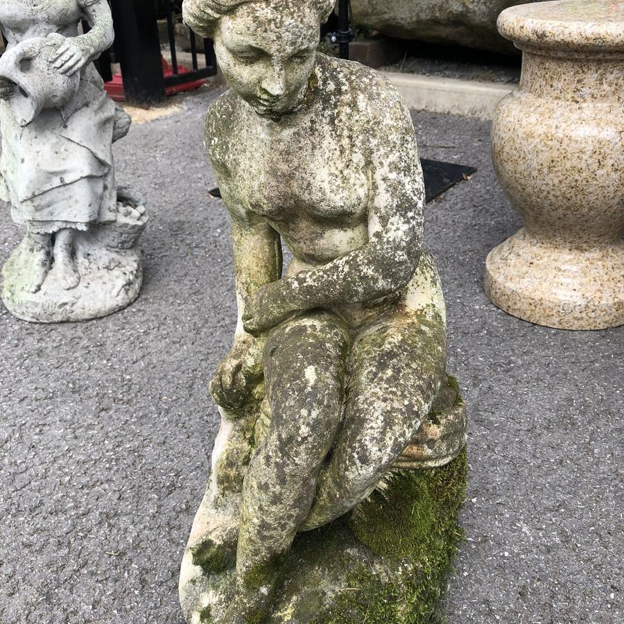 CAST STONE FIGURE OF A LADY BATHING
