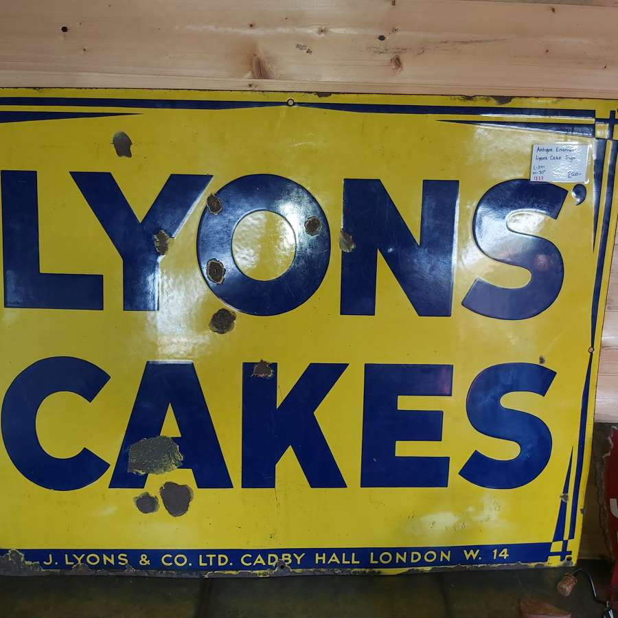 ANTIQUE ENAMEL  LYONS CAKE SIGN