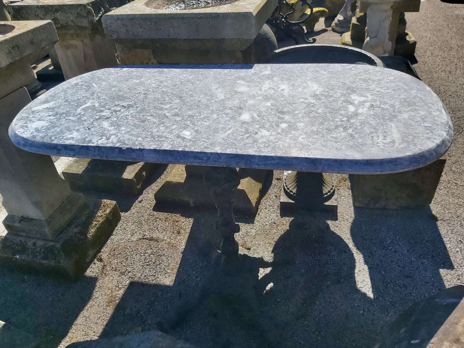 OVAL MARBLE AND CAST IRON OCCASIONAL  TABLE