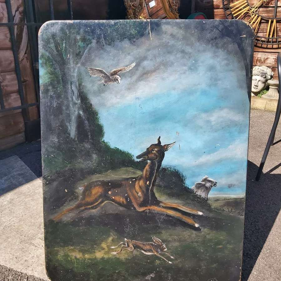 60YR OLD HANDPAINTED SCENE ON A OAK PLAQUE