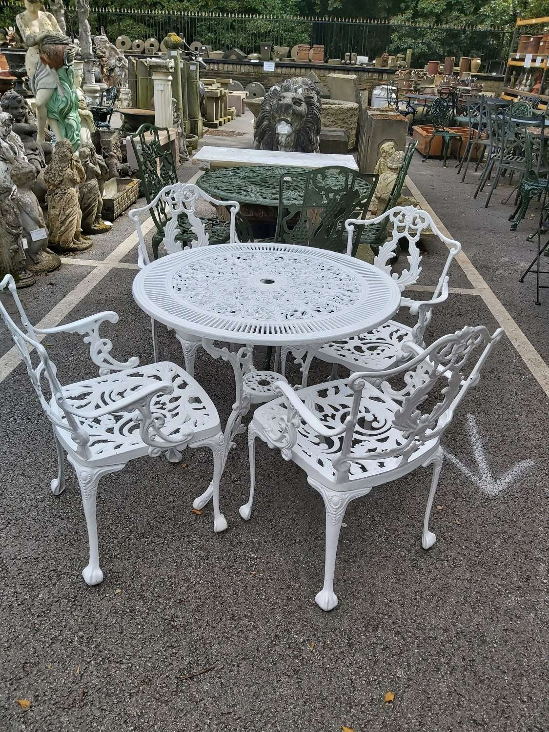 WHITE BISTRO SET WITH 4 CHAIRS
